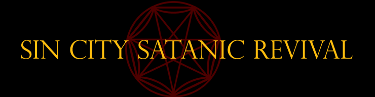 Sin City Satanic Revival in gold text on a black background with a dark red seven-pointed star behind the text.