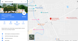 Google Maps result showing an information panel and map of the area known as the Devil's Crossroad in Clarksdale Mississippi.